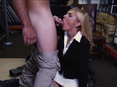 Blonde milf kneels down to...