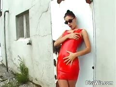 Horny slut in red latex...