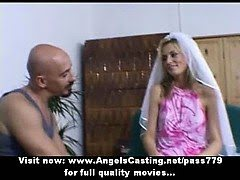 Amateur lovely blonde bride...