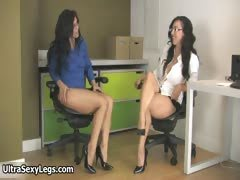Hot brunette babes get horny rubbing part1